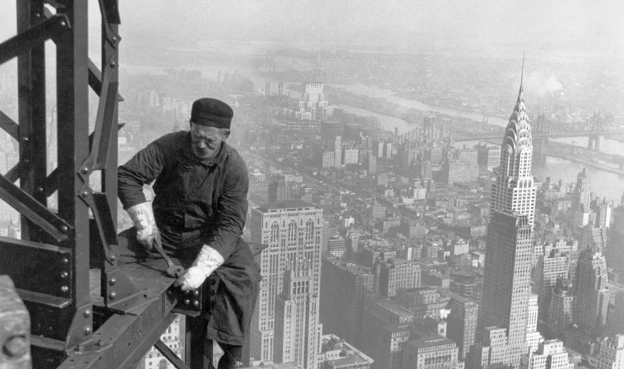 The Empire State Building under construction