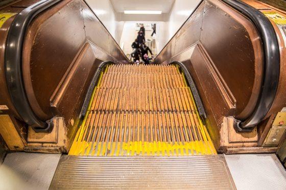 Macy's NYC wooden escalator