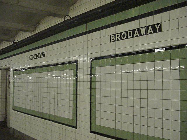 'Brodaway' Subway station in Brooklyn