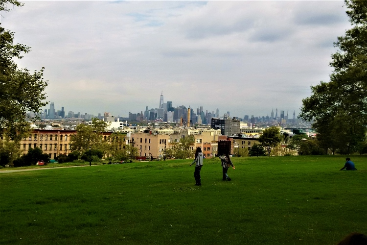 Sunset Park in Brooklyn with view of Manhattan skyline